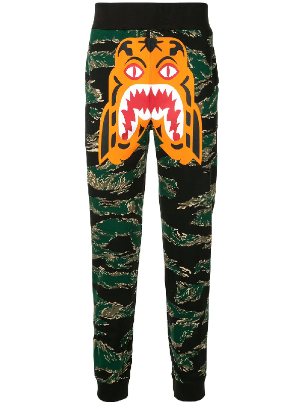 Bape Camouflage Print Track Pants In Green