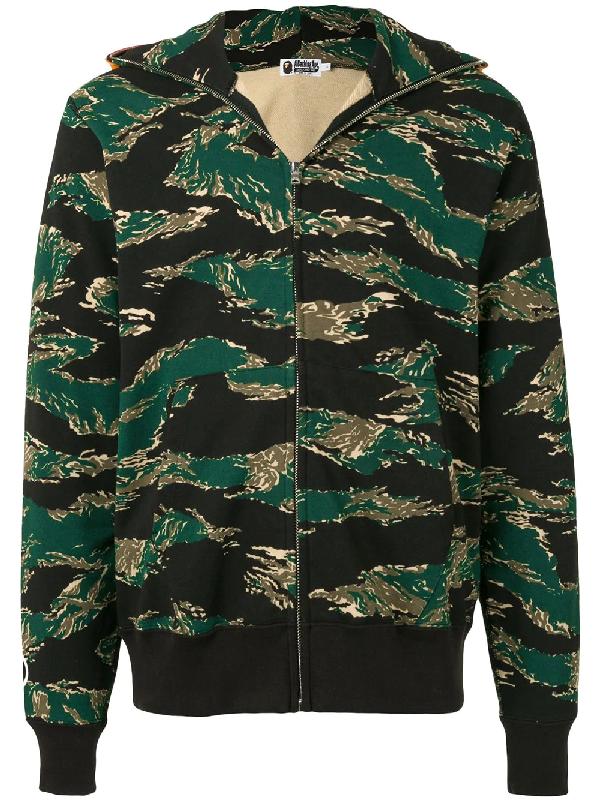 Bape Kapuzenjacke Mit Camouflage-print In Green