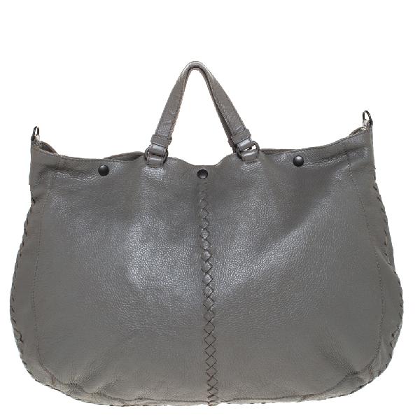 Bottega Veneta Grey Intrecciato Leather Large Tote