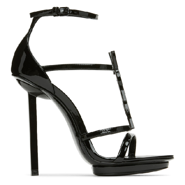 Saint Laurent Cassandra Monogram Patent Leather Sandals In Black