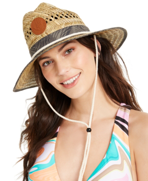 Body Glove Straw Lifeguard Hat In Multi Palm Print