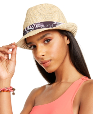 Body Glove Packable Straw Fedora In Multi Palm Print
