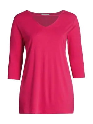 Joan Vass, Plus Size V-neck Cutout Tunic In Azalea