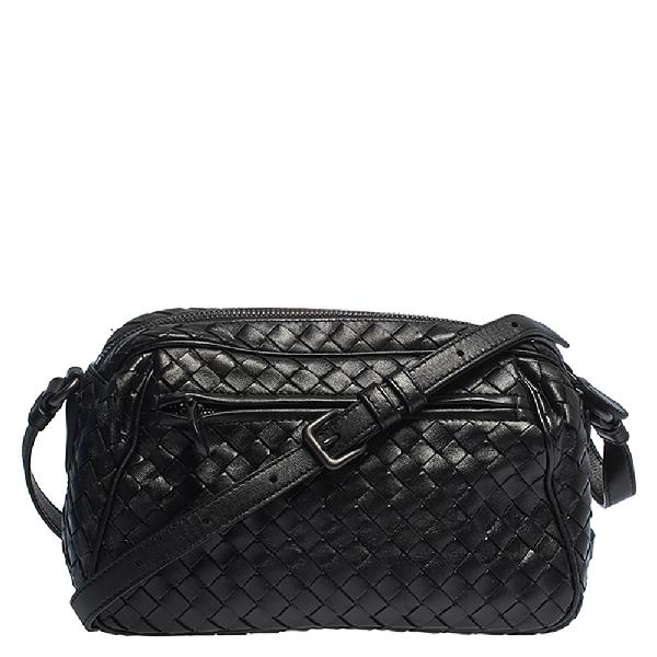Bottega Veneta Black Intrecciato Leather Camera Crossbody Bag