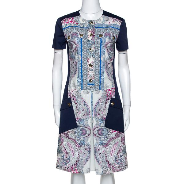 Etro Navy Blue Paisley Print Cotton Button Front Dress S