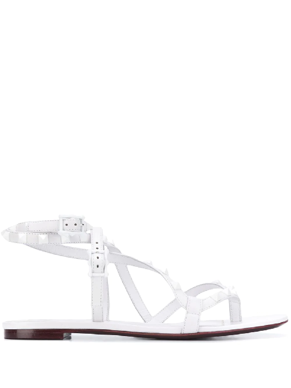 Valentino Garavani Rockstud Flair Flat-flop Sandals In White