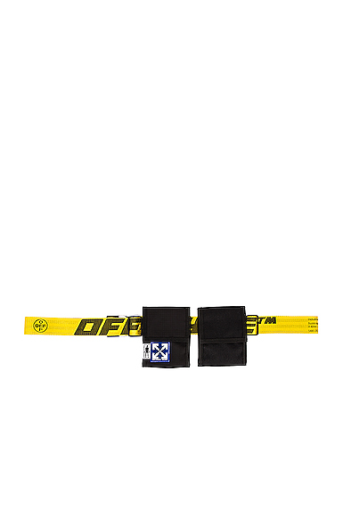 Off-white Eq Two Pocket Fannypack Sling Bag In Black & Yellow