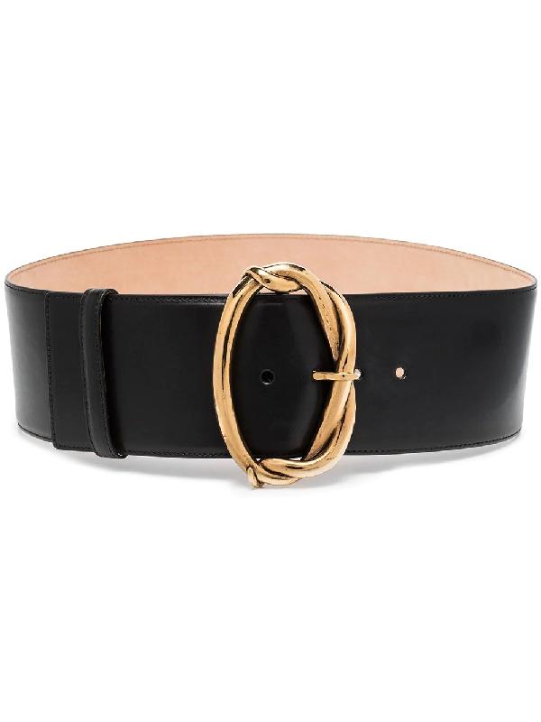 Alexander Mcqueen Goldtone Wire Buckle Leather Belt In Schwarz
