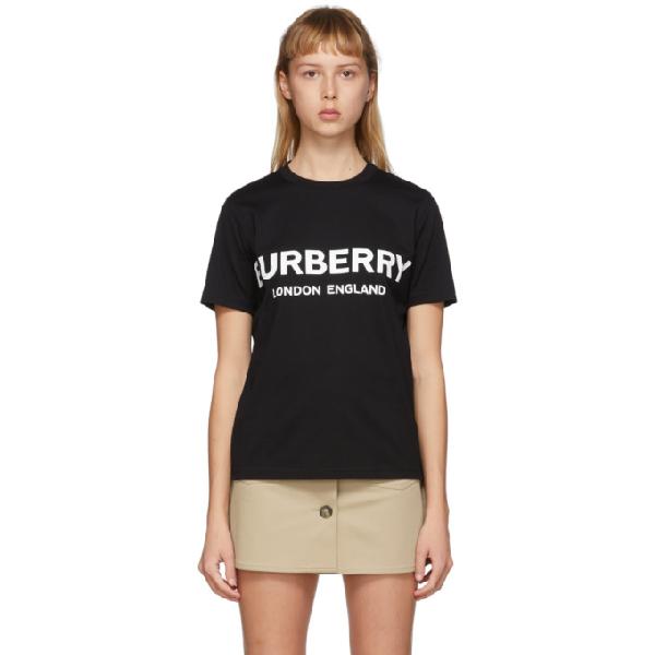 Burberry Logo Lettering Black Cotton T-shirt