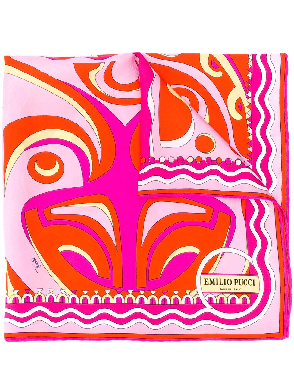 Emilio Pucci Psychedelic-inspired Patterned Scarf In Orange