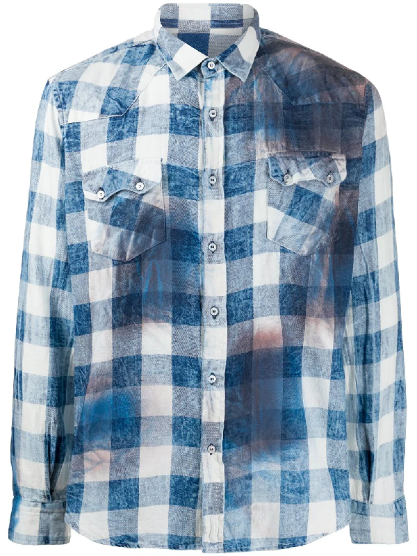 Family First Washed-effect Checked Shirt In Blue