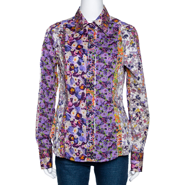 Etro Purple Floral Printed Stretch Cotton Button Front Shirt L