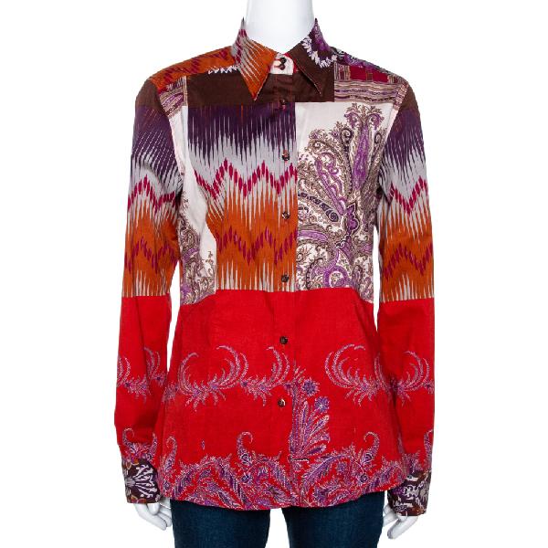 Etro Orange & Fuschia Ikat Floral Printed Stretch Cotton Button Front Shirt L