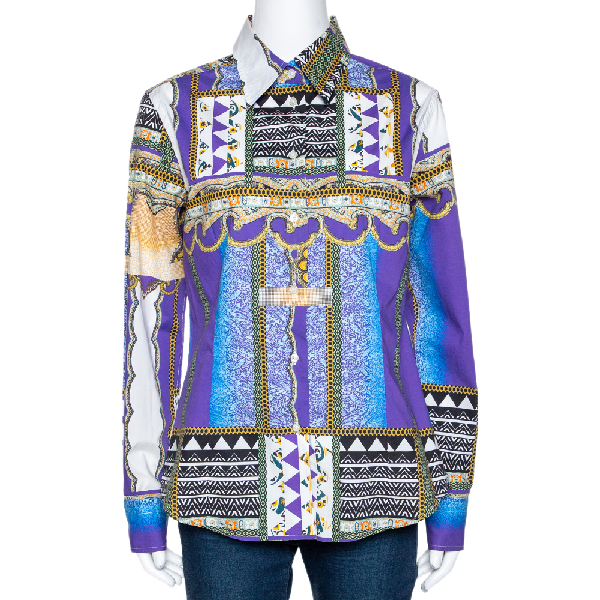 Etro Purple Tribal Paisley Printed Stretch Cotton Button Front Shirt L