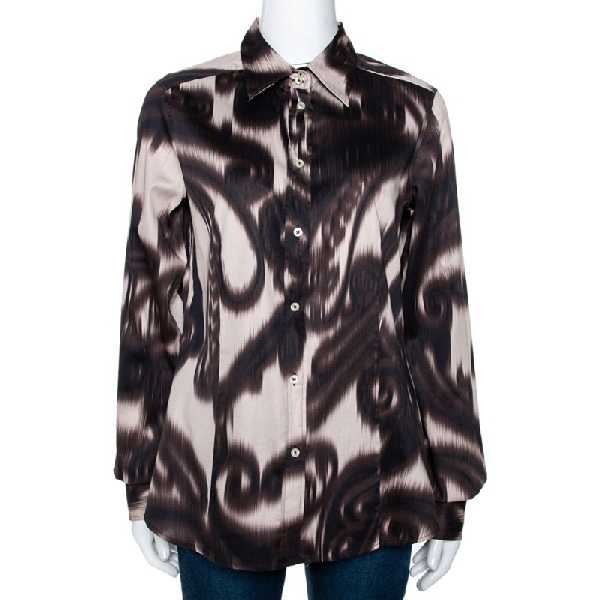 Etro Brown Abstract Paisley Print Cotton Long Sleeve Shirt L