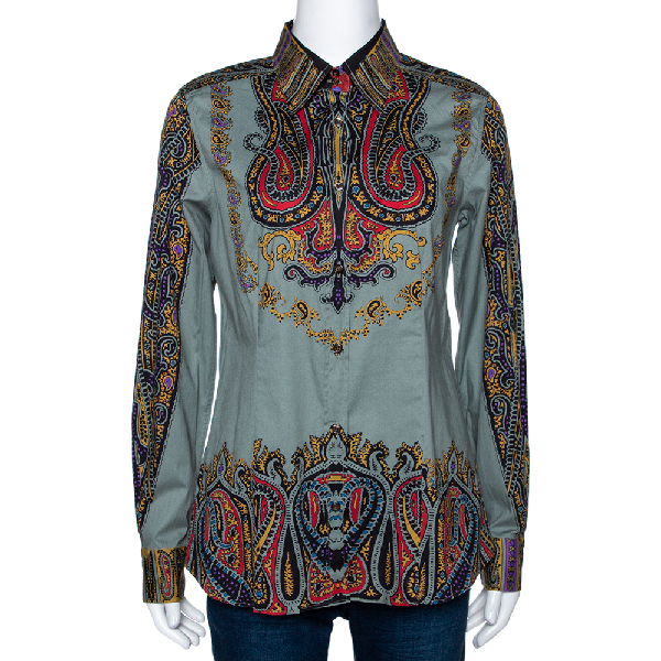 Etro Sage Green Paisley Print Stretch Cotton Long Sleeve Shirt L