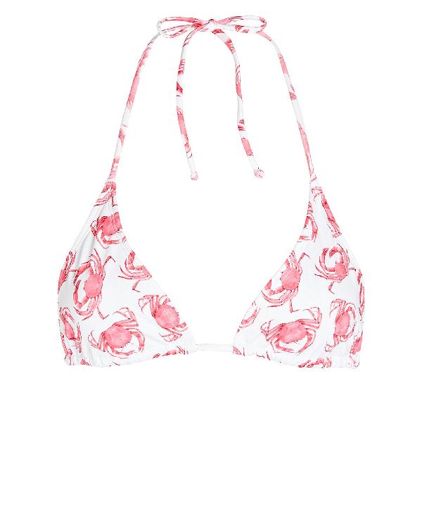Verde Limon Moa Triangle Bikini Top In White/pink