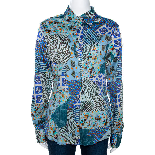 Etro Multicolor Stretch Cotton Multiprint Button Front Shirt Xl