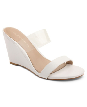 Bcbgeneration Pina Vinyl Wedge Sandals Women's Shoes In White