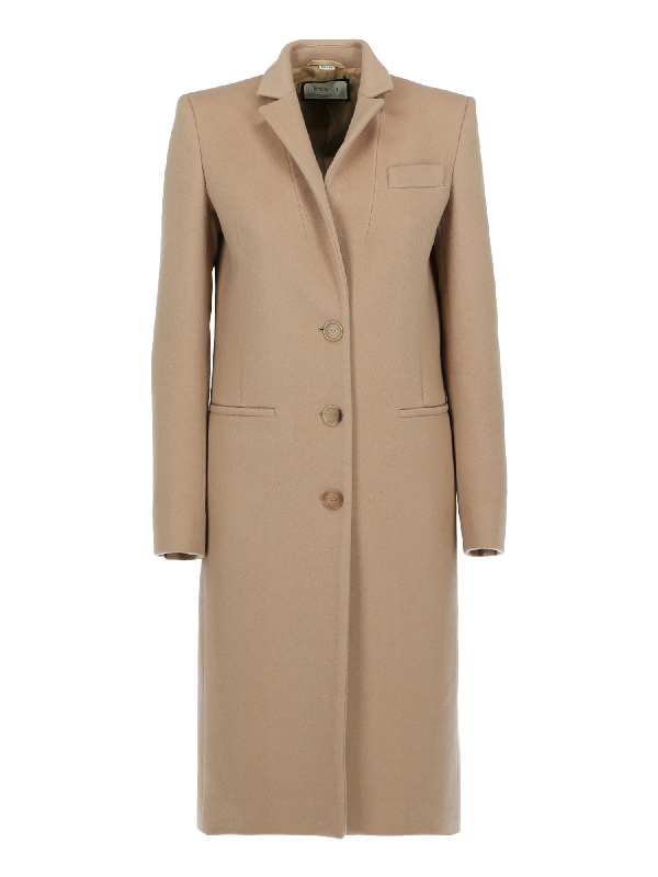 Gucci Single Breasted Coat In Camel Color