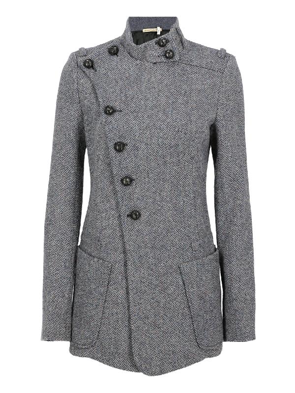 Balenciaga Single Breasted Coat In Black, Navy, Pink