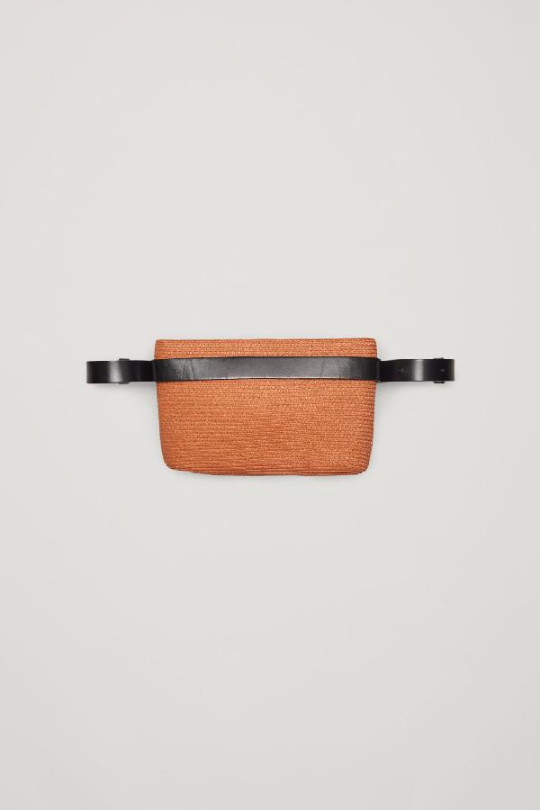 Cos Straw Belt Bag In Orange