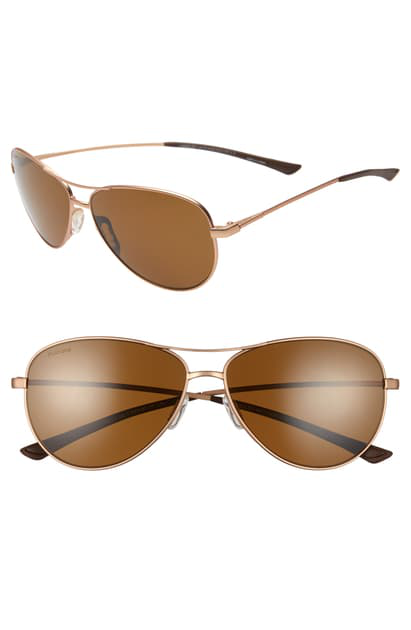Smith Langley 60mm Chromapop(tm) Polarized Aviator Sunglasses In Matte Rose Gold/ Brown