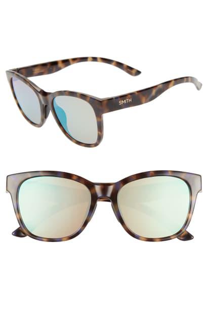 Smith Caper 53mm Chromapop(tm) Square Sunglasses In Tortoise/ Violet Blue