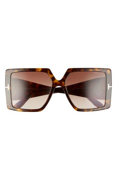 Tom Ford Quinn 57mm Gradient Square Sunglasses In Braun