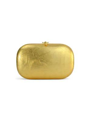 Jeffrey Levinson Elina Plus 18k Gold Leaf Clutch In Natural Gold