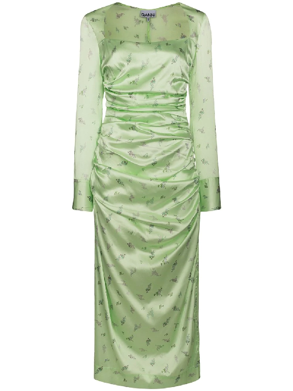 Ganni Ruched Floral-print Stretch-silk Satin Midi Dress In Green
