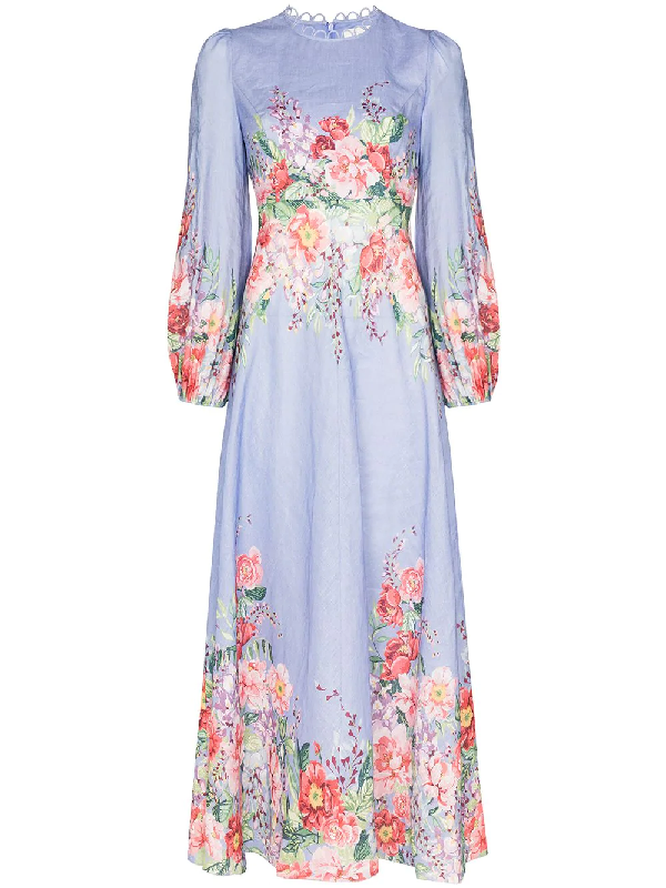 Zimmermann Bellitude Floral Long Dress In Cornflower Floral In Blue