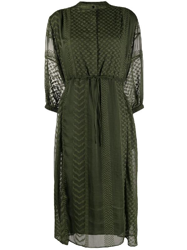 Lala Berlin Geometrie Embroidered Midi Dress In Green