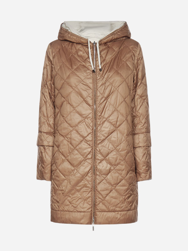 Max Mara The Cube Enovel Reversible Quilted Nylon Down Jacket In Brown