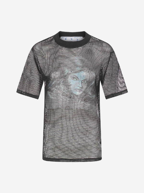 Off-white Panther Draped Net T-shirt In Black