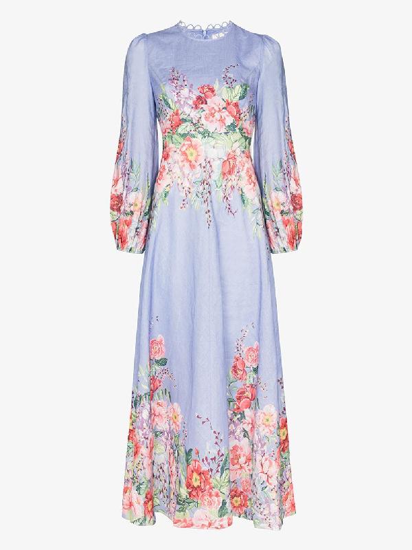 Zimmermann Bellitude Floral Long Dress In Cornflower Floral In Blue