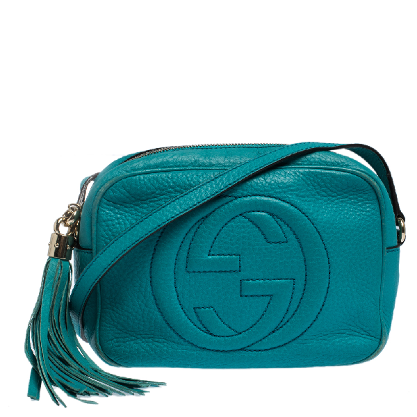 Gucci Turquoise Leather Soho Disco Crossbody Bag In Blue