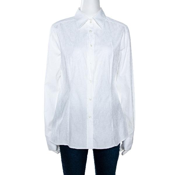 Etro White Paisley Woven Cotton Button Front Shirt L