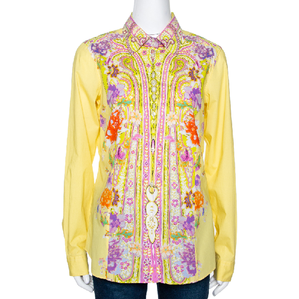 Etro Yellow Floral Paisley Printed Cotton Button Front Shirt L