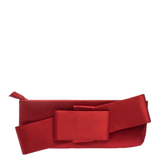 Valentino Garavani Red Satin Bow Clutch