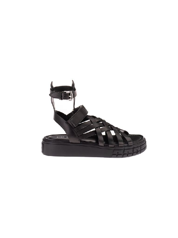 Prada Braided Leather Sandals In Black