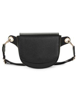 Saks Fifth Avenue Pebbled Leather Saddle Belt Bag In Black