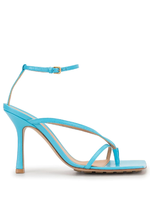 Bottega Veneta Square-toe High-heel Sandals In Blue