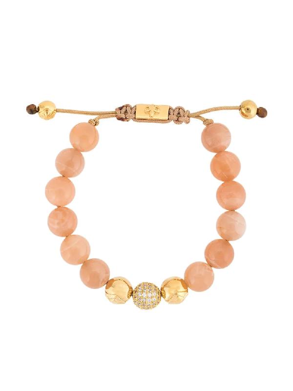 Nialaya Jewelry Moonstone Beaded Bracelet In Pink