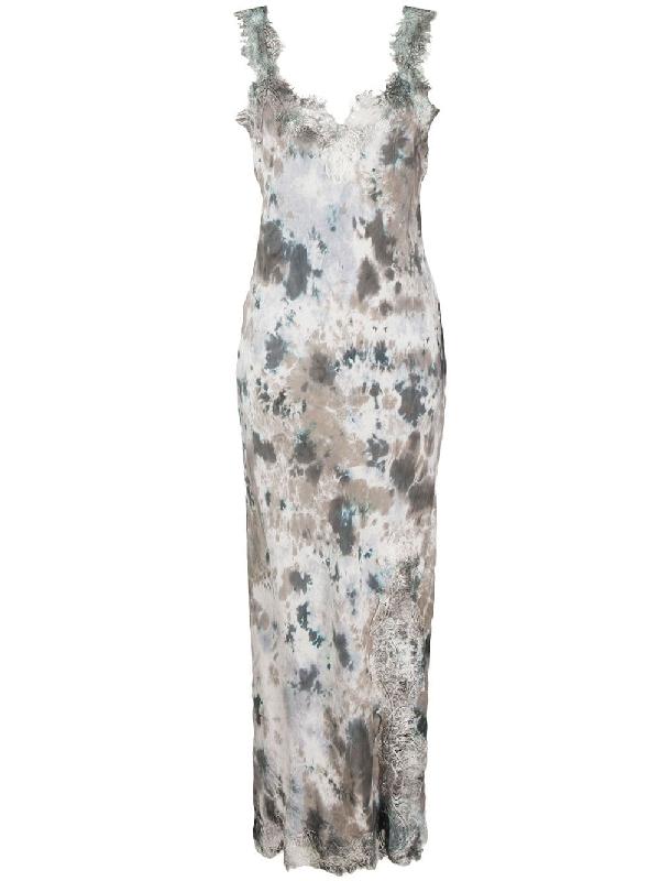 Gold Hawk Tie Dye Lace Trim Dress In Grey