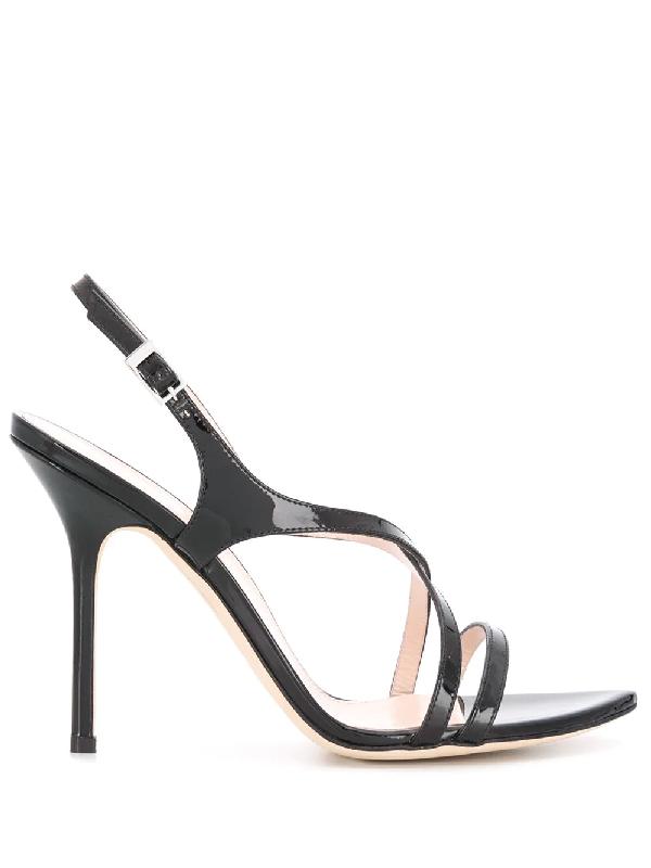 Pollini Patent Strap Sandals In Black