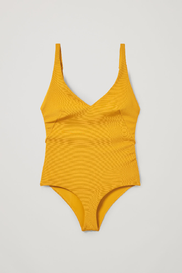 Cos V-neck Swimsuit In Yellow
