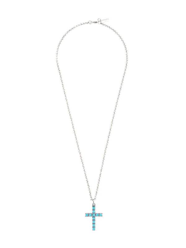 Nialaya Jewelry Turquoise Cross Necklace In Silver