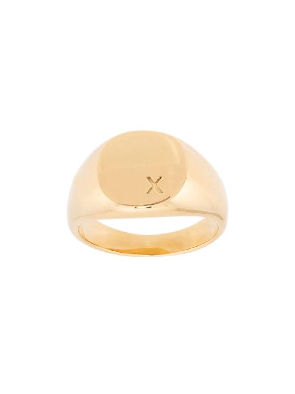 Nialaya Jewelry X Engraved Signet Ring In Gold