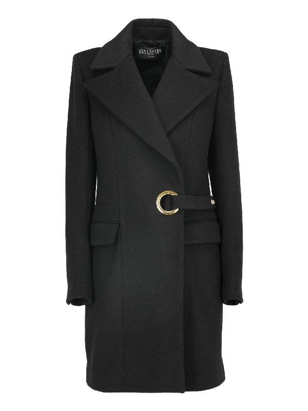 Balmain Single Breasted Coat In Black